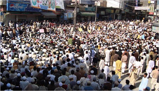 Around 3,000 people gathered for a rally in the Swat Valley of Pakistan on April 10 in support of the bill paving way for the implementation of Islamic law there.